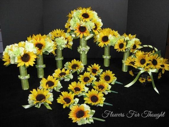 Sunflower Wedding Package, 20 pc. Silk Bridal Flowers, Original FFT Design, Made to Order