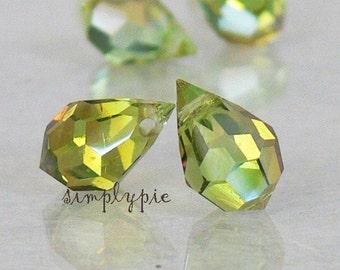 Chrysolite Celsian Teardrop Briolette Czech Glass Beads 6 Faceted Machine Cut