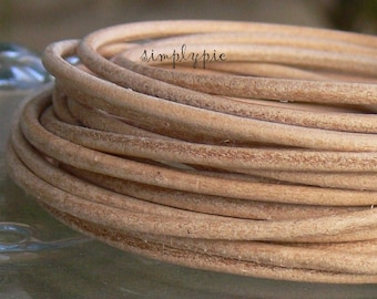 2mm Matte Tan Leather Cord Sold Per Foot
