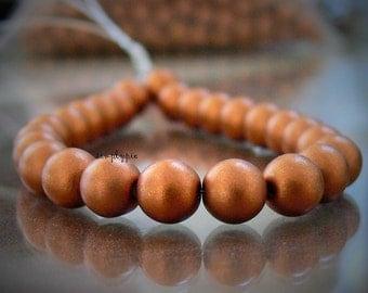 Copper Beads, Czech Matte Satin Glass Beads 6mm Round Druk: 25 Pcs