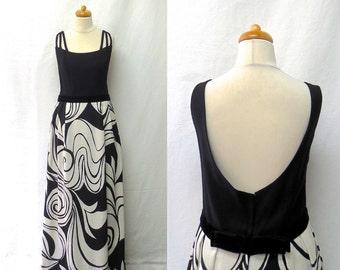 1960s / 70s Vintage Velvet Waist Linen Maxi Dress / Black & White Abstract Colour Block Open Back Dress