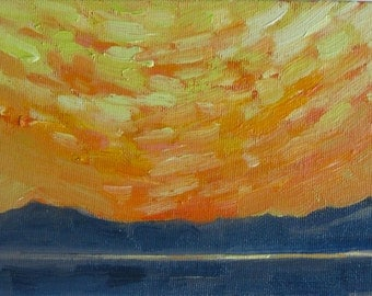 Sun Dance. Original oil painting on canvas board by Yvonne Wagner. Framed 5 x 7 inch (13 x 18 cm) Sunset. Plein are frame.  SALE