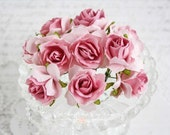 Mulberry Wild Roses~Pink Two Toned~ Set of 10 for Scrapbooking, Cardmaking, Altered Art, Wedding, Mini Album