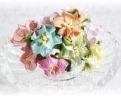 Mulberry Flowers~Pastel Gardenias~ Set of 10 for Scrapbooking, Cardmaking, Altered Art, Wedding, Mini Album
