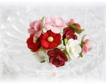 Mulberry Flowers~Sweetheart  Blossoms Reds~ Set of 10 for Scrapbooking, Cardmaking, Altered Art, Wedding, Mini Album
