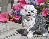 Old English Sheepdog OES white grey sculpted pet memorial