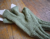 Knit Green T-Rex Gloves or Mittens with Cream White Claws for Children (Boys or Girls)  or even Adults, if you Dare
