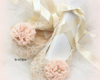Wedding Flats, Tan, Champagne, Ivory, Blush, Ballet Flats, Elegant Wedding, Lace Flats, Bridal, Ballerina Slippers, Crystals, Vintage Style