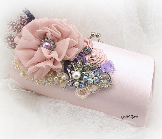 Blush Clutch, Purple, Lilac, Handbag, Bridal, Purse, Mother of the Bride, Bridesmaids, Brooch, Feathers, Crystals, Pearls, Elegant