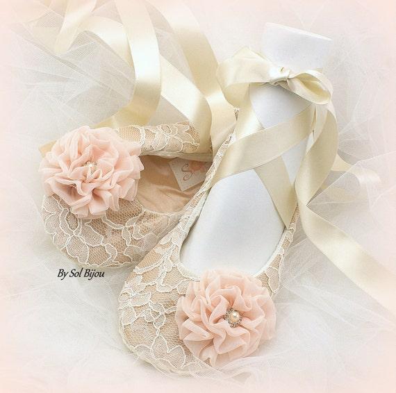 Wedding Flats Tan Champagne Ivory Blush Ballet
