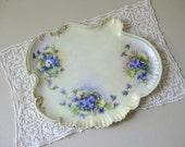 Antique Victorian porcelain dresser tray Victorian violets vanity tray