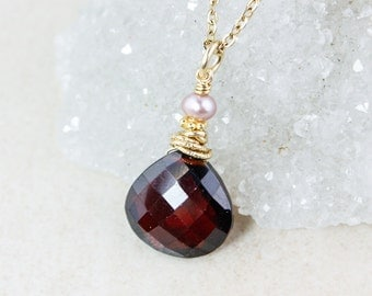 Red Garnet Necklace - Pink Freshwater Pearl