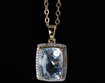 Blue Aquamarine Pendant Necklace - Pave Diamonds - 14K Yellow Gold