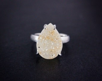 Honey Teardrop Agate Druzy Ring - Choose Your Druzy - Sterling Silver
