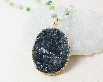 Oval Black Druzy Statement Necklace – Gemstone Chain – Choose Your Gemstone