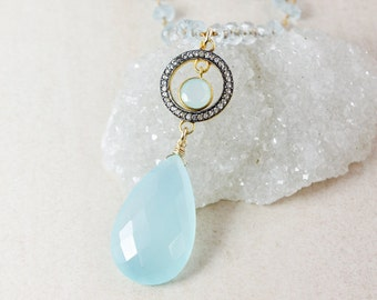 Blue Chalcedony Teardrop Necklace – Pave White Topaz – Aquamarine Chain
