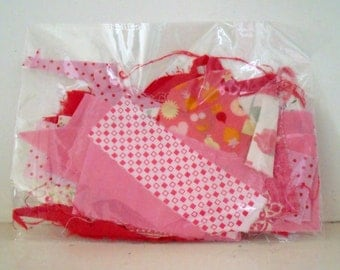 Pink Fabric Scrap Bag 100g nearly 4oz in weight