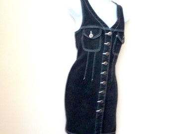 Black Denim - Mini Dress -  Button Front - Sleeveless - Size Small - Sexy - Figure Hugging - Layer - 1980s - Cotton -Recycled - Eco Friendly