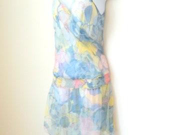 Dress - Mini - Tunic - Sheer - Pastel - Floral - Flowers - Coverup - Sleeveless - Romantic - Sz Large - Recycled - Girly - Pullover