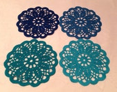 set of 4 blue and teal colored 6 inch doilies coasters Handmade crocheted blue country decor dining mug mat kitchen