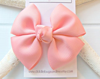 Coral Pinwheel Bow, Girls Light Coral Hair Bow, Hair Bow, Beach Hair Bow, Girl's Hair Bow, Pinwheel Hair Bow, Coral Hair Bow, Bows For Girls