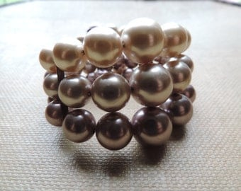 vintage pearl bracelet multi strand ombre big bead expansion cuff