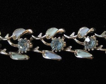 Blue Enamel and Rhinestone Bracelet