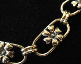 Gold Filled Floral Link Bracelet, Art Nouveau