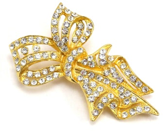 Gold Ribbon Rhinestone Brooch Vintage 1970s Broach