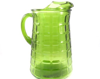 Avocado Green Waffle Pattern Water Pitcher Anchor Hocking Vintage 1960s Ice Tea Pitcher