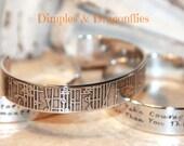 Music Lover Secret Message Hand Stamped Bracelet, personalized