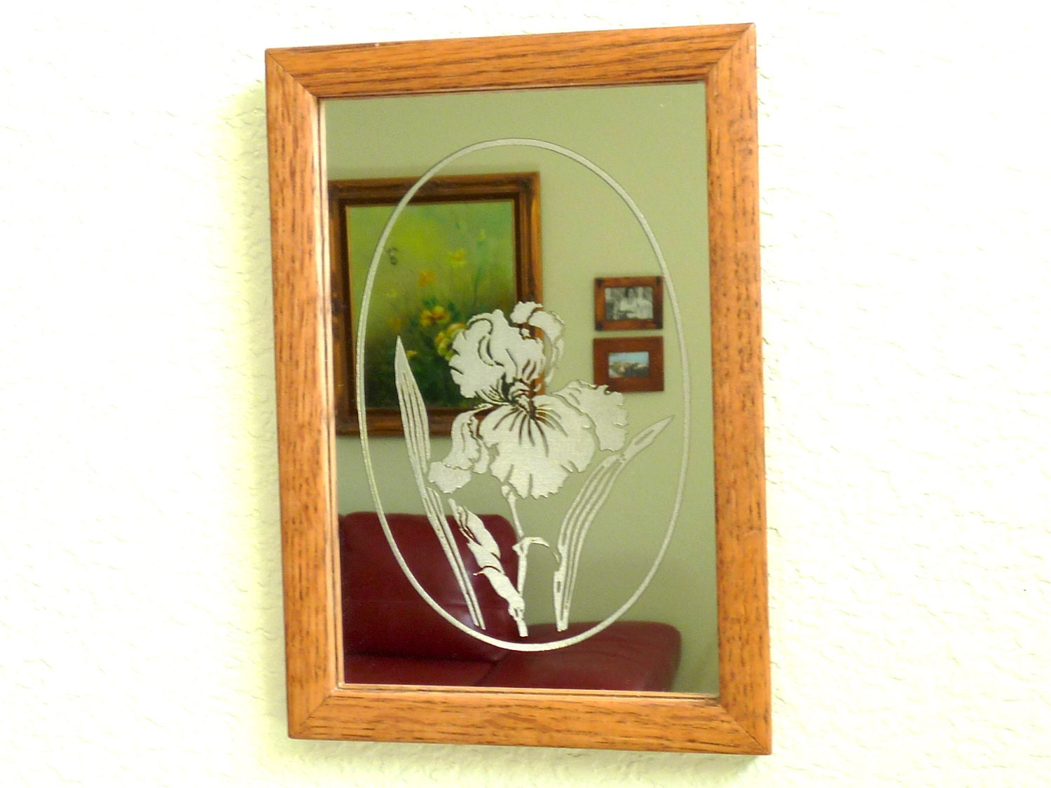 Antique Etched Mirror Wood Frame Wall Decor by KMalinkaVintage