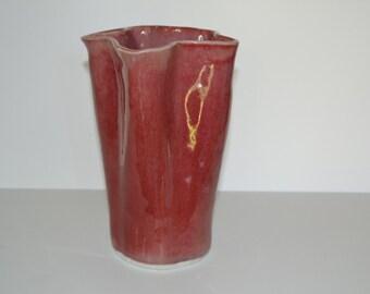 Copper red, porcelain, fluted vase.