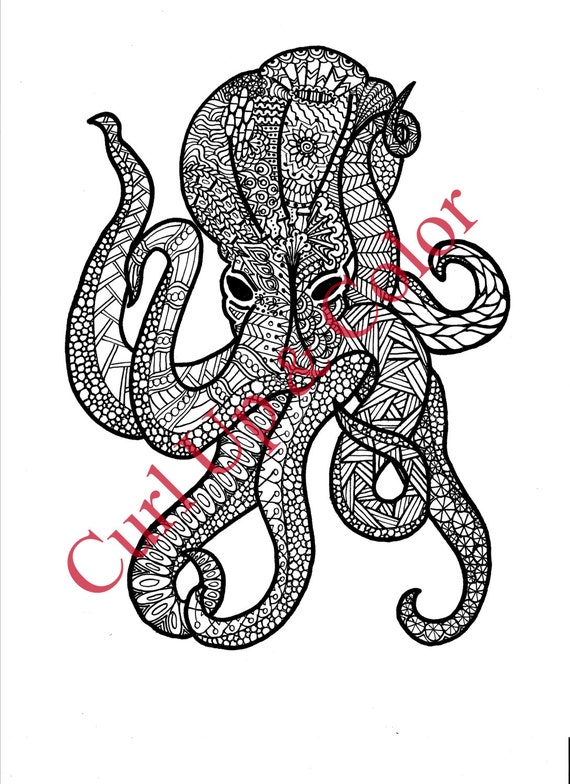 Adult Coloring Page Octopus Instant Download Zentangle