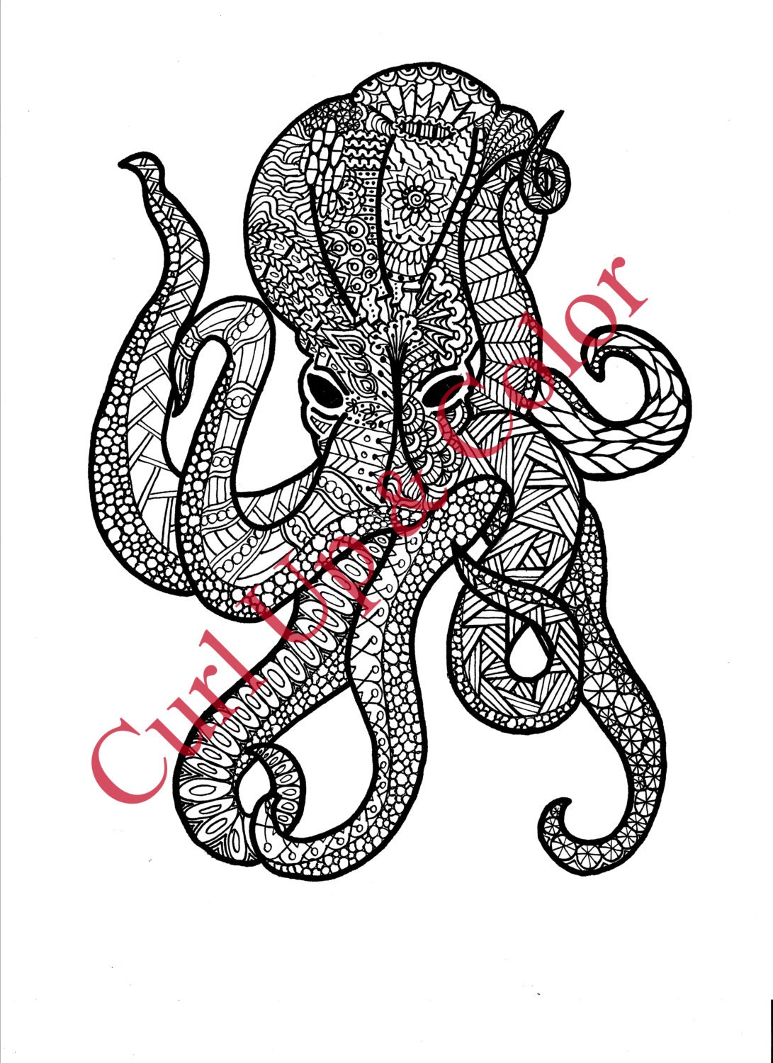 coloring page octopus instant download zentangle