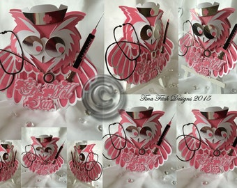Nurse Owl Card Cutting File. All formats offered