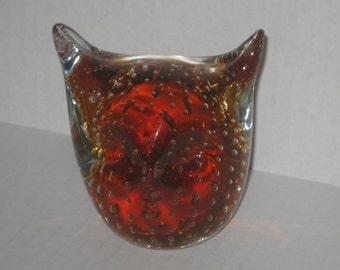 Vintage Amber Glass Owl paperweight with Floating Bubbles