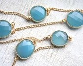 SALE 5 Feet Bezel Set Dreamy Blue Chalcedony Stones with Gold Plated Chain