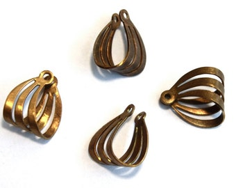 4 Vintage 1960s Pendants // 60s 50s Finding  // 3D // Brass // Craft Jewelry Supply // NOS // Abstract