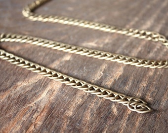 6 feet - 1960s Stunning Matte Solid Brass Vintage Chain 6 feet - Oval Link - Unsoldered 11 x 6 mm