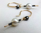 Pearl Earrings, White Pearl Earrings, Gold Earrings, Black Gold White Pearl Earrings, Wire Wrapped - Twist of Fate