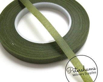 1 Roll (27m) Skinny 6mm Wide Hamilworth Floral Tape - Moss Green