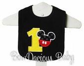Mickey Mouse Bib, Custom Mickey Mouse Bib, Mickey 1st Birthday Bib, Mickey First Birthday Bib, Cake Smash Bib, Custom Colors and Fabric