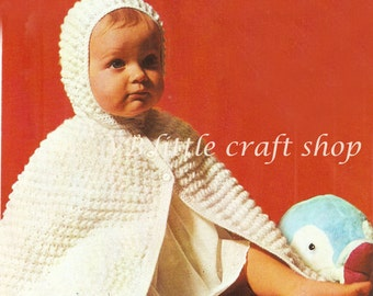 Baby's hooded cape crochet pattern. Instant PDF download!