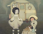 LOWBROW misfit trailer park girl whimsical fantasy fine art pop surreal print - A Princess and her Handmaiden