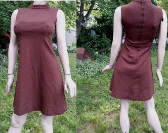 45% OFF 60s Dress in Brown, Vintage Dress, 60s Costume, A-line Dress, Double Knit Dress in Textured Knit by Barnsville  Park Suite Collectio