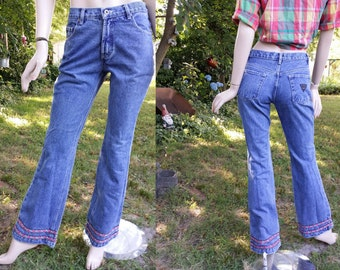 80s Jeans, 80s Costume, Vintage Jeans, No Excuses Jeans, Vintage Denim, Blue Jeans with Embroidered Cuff Trim  Size 8