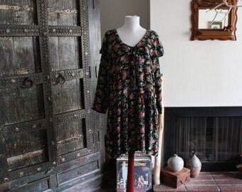 90s floral drop waist nautical collar dress