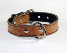 "Brown Leather Dog Collar, 1"" Brown Ostrich Leather Dog Collar, Leather Ostrich Dog Collar,  Fits 10"" to 14"" necks"
