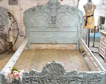 French Bed Painted Cottage Shabby Chic Rococo Bed Aqua Queen / King Romantic  Bed BD22
